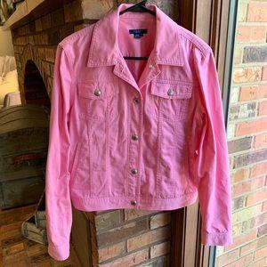 Chaps pink jean jacket. Size: L